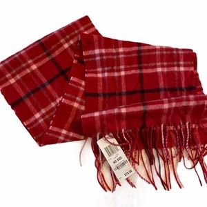 NWT Charter Club red  plaid cashmere scarf